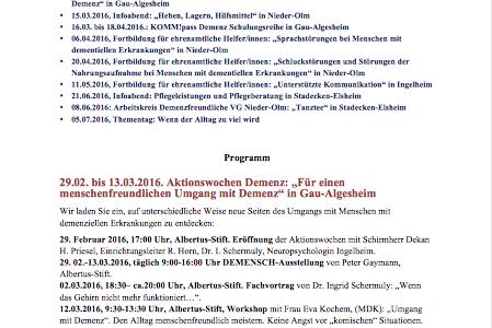 Programm 2016 des Netzwerk Demenz MZ-Bingen ist erschienen